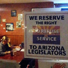 Refusing service to legislators sign