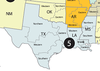 Map Of South Central United States Showing The Jurisdication Of The 5th U S Circuit Court Of Appeal