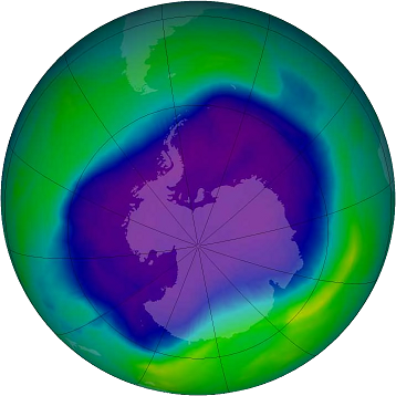 Ozone hole in the Antarctic