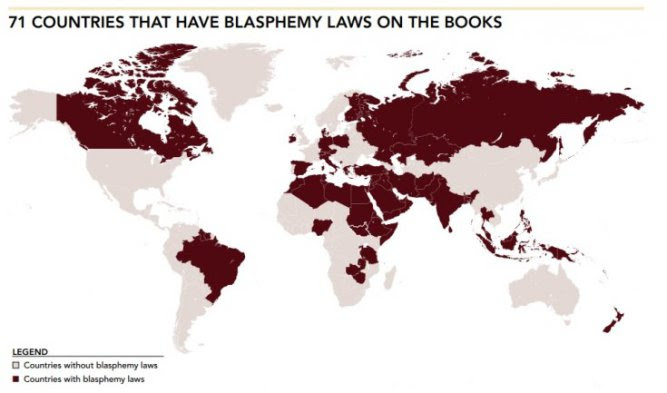 map of countries with plasphemy laws