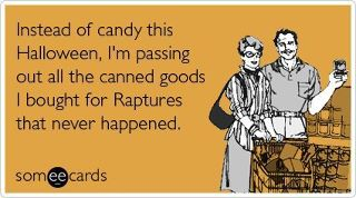 Halloweeen recycling of food cans brought for rapture