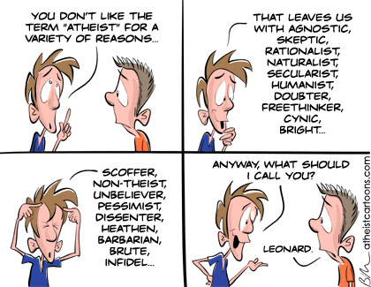 Cartoon re synonyms for the word Atheist
