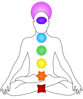 The seven Chakras on the human body