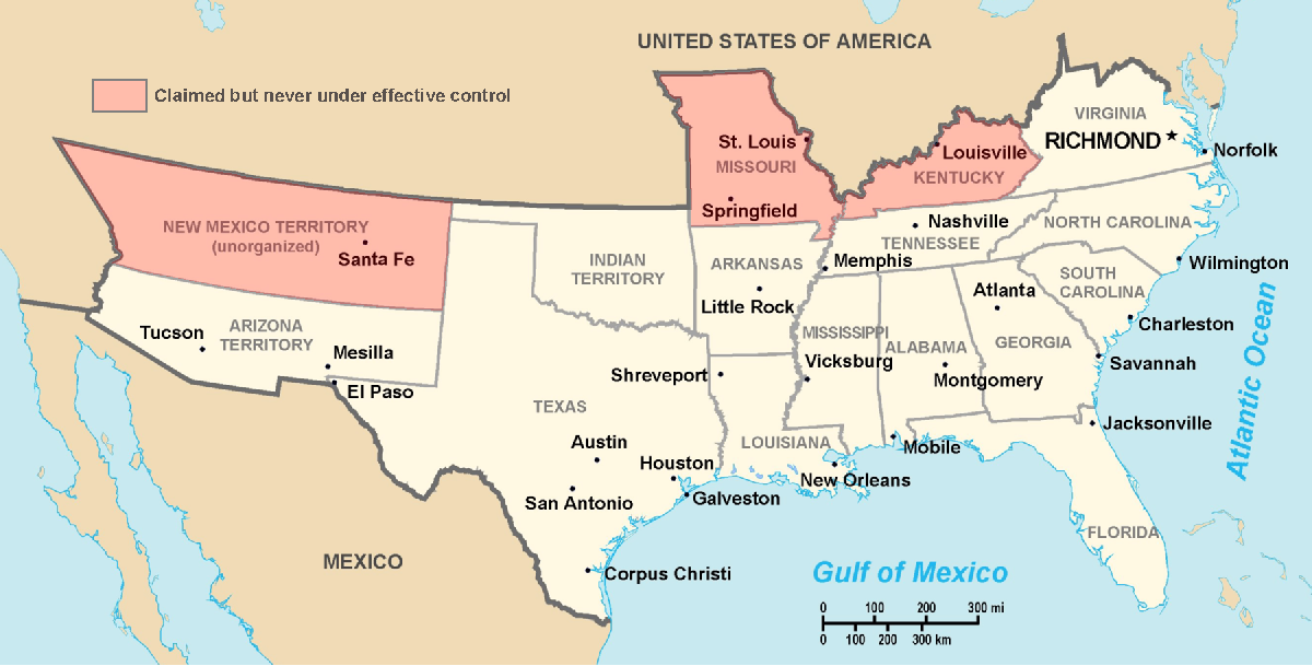 The maximum extent of the Confederacy