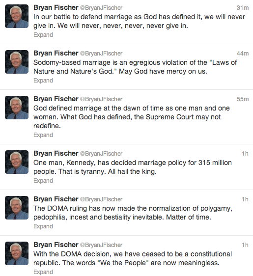 tweets of Bryan Fischer