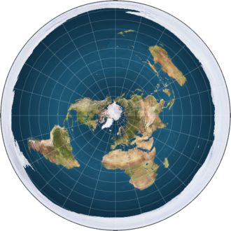 Azimuthal equidistant projection of the Earth