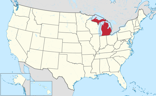 U.S. map with Michigan highlighted