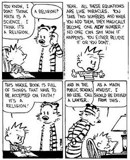 """Math is a religion"" cartoon"