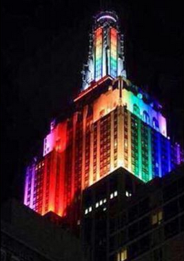 empire state building in rainbow colors