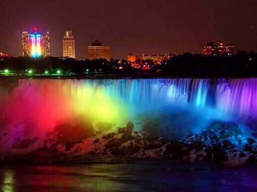 niagara falls in rainbow colors