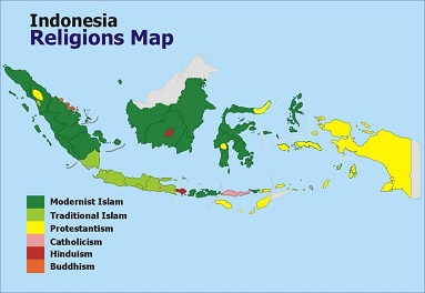 Indonesia religions map
