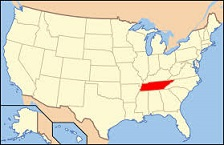 map of U.S. showing Tennessee