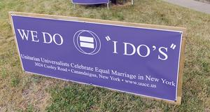 City hall sign about marriage