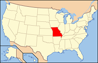 U.S. map with Missouri highlighted