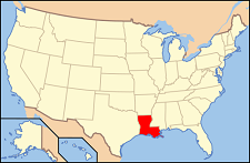 U.S. map with Louisiana highlighted