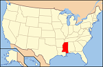 Map of U.S. with Mississippi highlighted