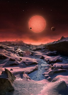 Artist's impression of a view from one of TRAPPIST-1's planets