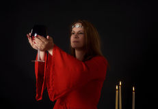 Wiccan priestess performing a ritual