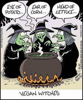 Funny cartoon of vegan witches