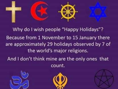 Holidays observances and conflicts at christmas time