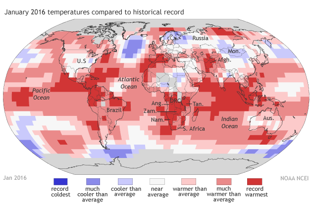 2016-JAN temperatures compared to historical record