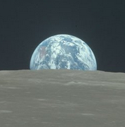 Earth, as seen from the moon on an Apollo mission