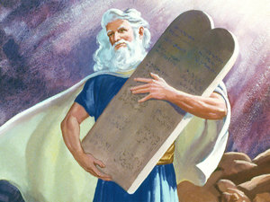 Moses carrying the Ten Commandments