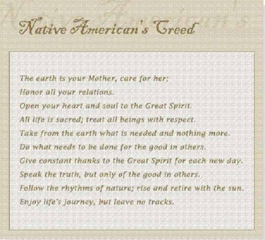 A Native American creed