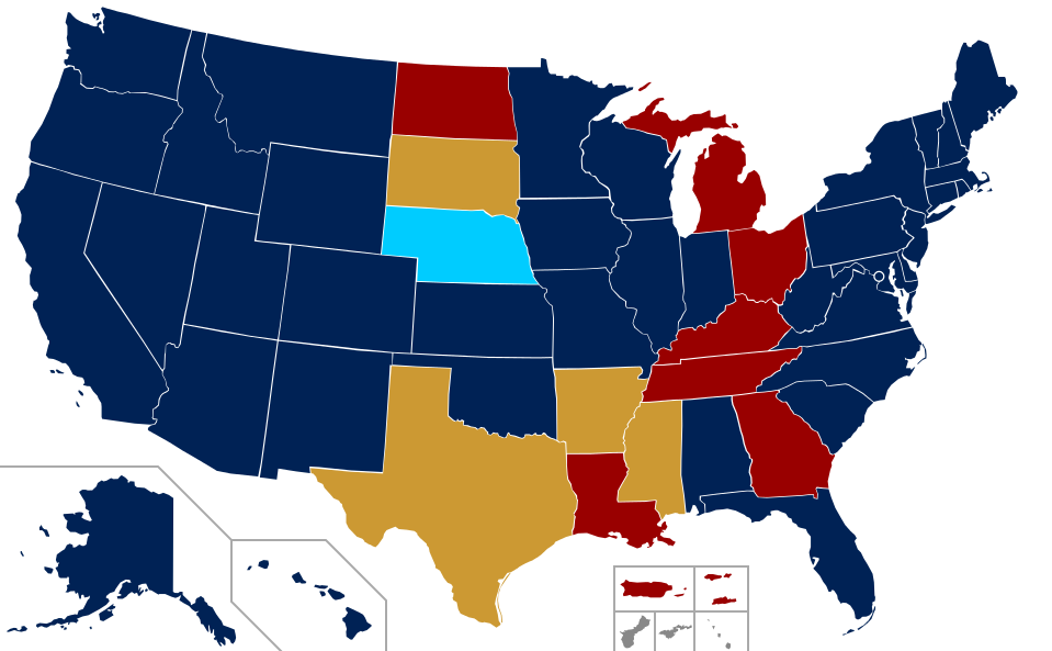 map of U.S. with SSM status