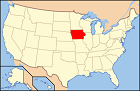U.S. map with Iowa highlighted